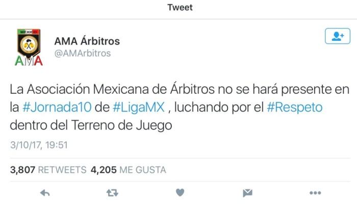 ¡Histórico! Árbitros se niegan a pitar la fecha 10 de la Liga Mx