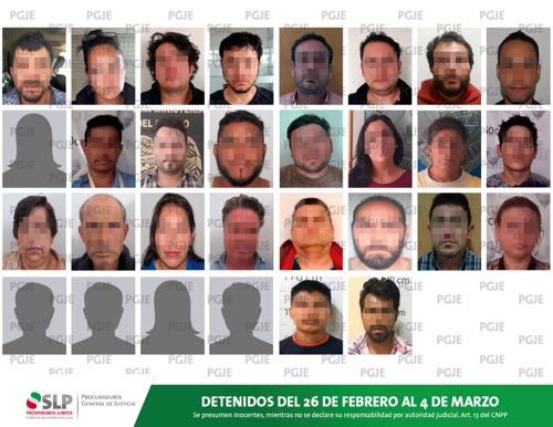 En una semana, la PGJE detuvo a 30 personas por diversos delitos