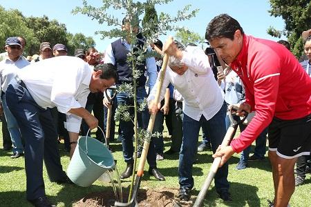 Ayuntamiento y Atlético de San Luis, reforestaron inmediaciones de la Presa San José