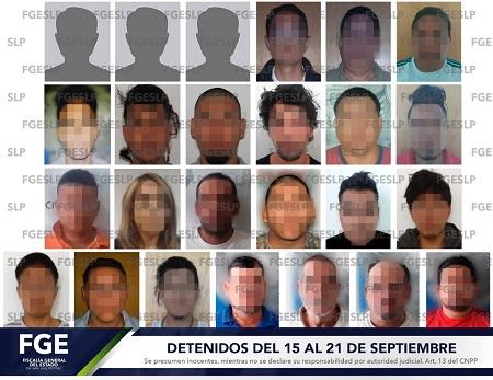 Captura Fiscalía a 25 personas durante la tercer semana de septiembre