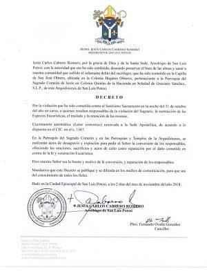 Iglesia excomulga a delincuentes, por robo de Sagrario en Iglesia de SGS