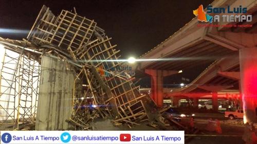 Cae estructura del nuevo brazo del Distribuidor Juárez, mientras era colado [Video]