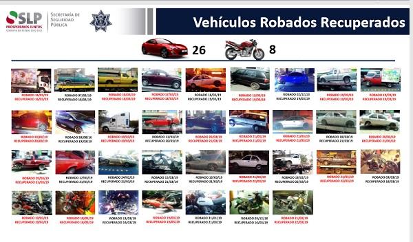 SSPE recupera 32 vehículos con reporte de robo