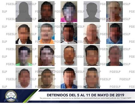 FGE detuvo a 19 personas durante la segunda semana de mayo
