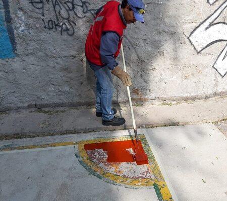 SEDUVOP realiza mantenimiento dentro del Parque Lineal Españita