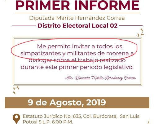 Diputada de Morena, invita solo a militantes y simpatizantes de su partido, a su informe legislativo
