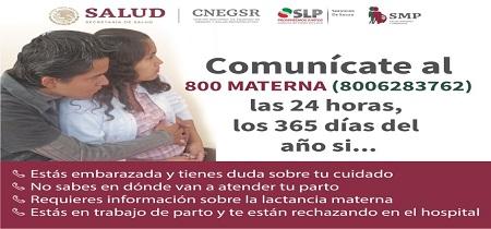 Pide la Secretaría de Salud a las mujeres embarazadas conozcan y utilicen la línea 800 MATERNA.